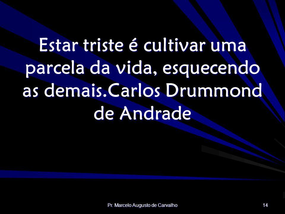 Pr. Marcelo Augusto de Carvalho 14 Estar triste é cultivar uma parcela da vida, esquecendo as demais.Carlos Drummond de Andrade