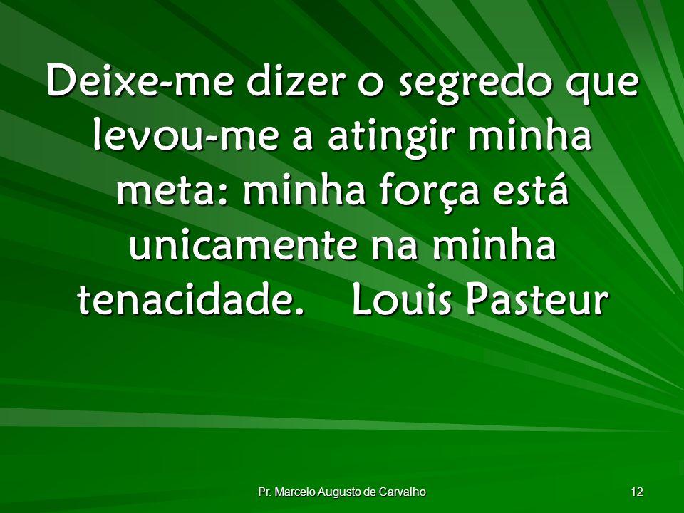 Pr. Marcelo Augusto de Carvalho 12 Deixe-me dizer o segredo que levou-me a atingir minha meta: minha força está unicamente na minha tenacidade.Louis P