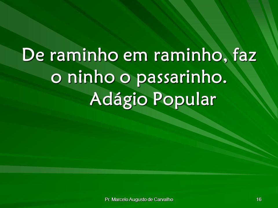 Pr. Marcelo Augusto de Carvalho 16 De raminho em raminho, faz o ninho o passarinho. Adágio Popular