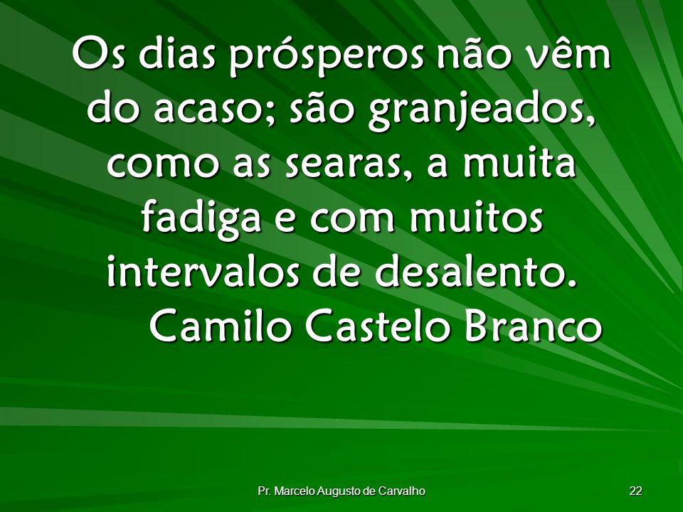 Pr. Marcelo Augusto de Carvalho 22 Os dias prósperos não vêm do acaso; são granjeados, como as searas, a muita fadiga e com muitos intervalos de desal