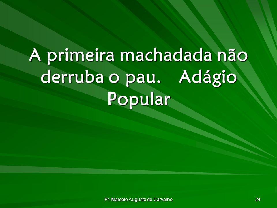 Pr. Marcelo Augusto de Carvalho 24 A primeira machadada não derruba o pau.Adágio Popular