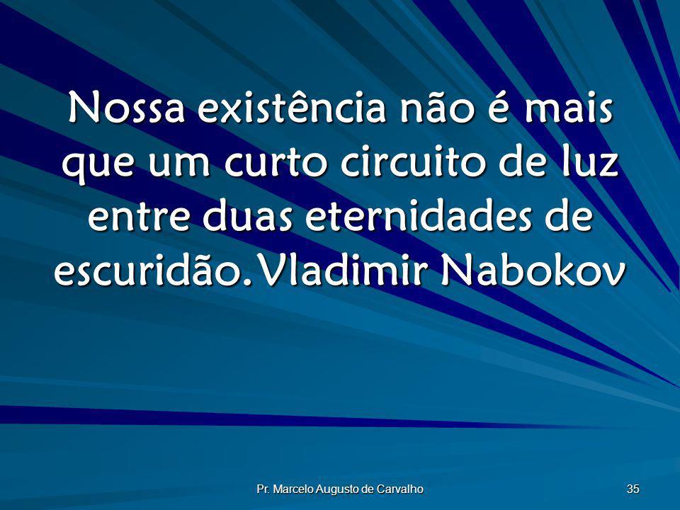 Pr. Marcelo Augusto de Carvalho 35 Nossa existência não é mais que um curto circuito de luz entre duas eternidades de escuridão.Vladimir Nabokov