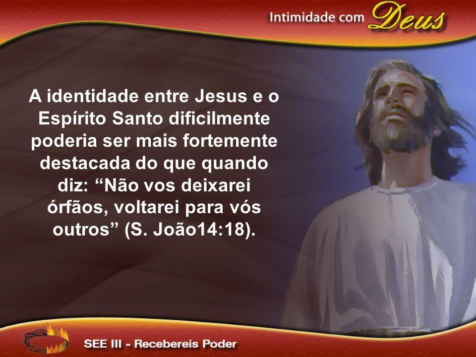 A identidade entre Jesus e o Espírito Santo dificilmente poderia ser mais fortemente destacada do que quando diz: Não vos deixarei órfãos, voltarei pa