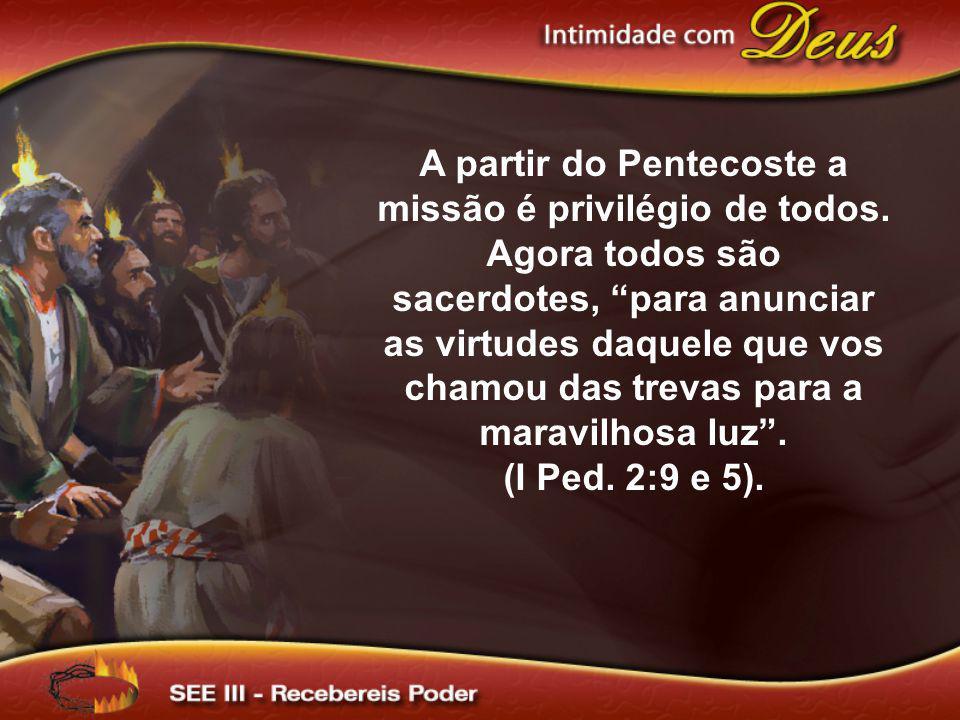 A partir do Pentecoste a missão é privilégio de todos. Agora todos são sacerdotes, para anunciar as virtudes daquele que vos chamou das trevas para a