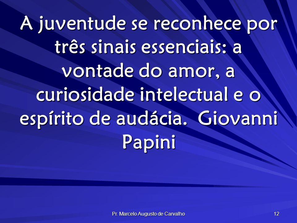 Pr. Marcelo Augusto de Carvalho 12 A juventude se reconhece por três sinais essenciais: a vontade do amor, a curiosidade intelectual e o espírito de a