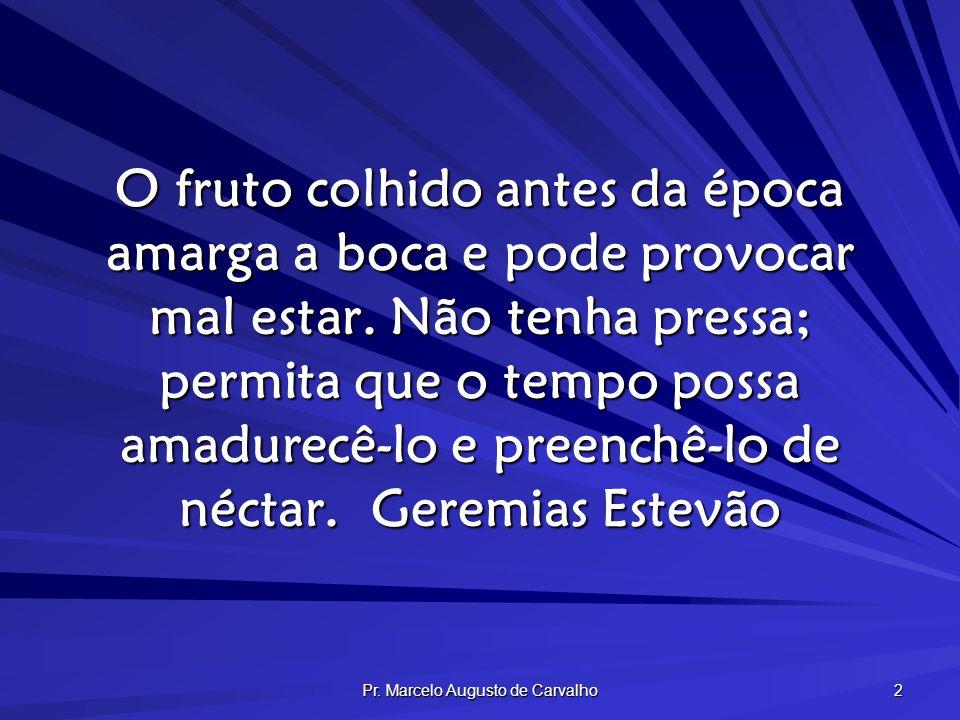 Pr. Marcelo Augusto de Carvalho 2 O fruto colhido antes da época amarga a boca e pode provocar mal estar. Não tenha pressa; permita que o tempo possa