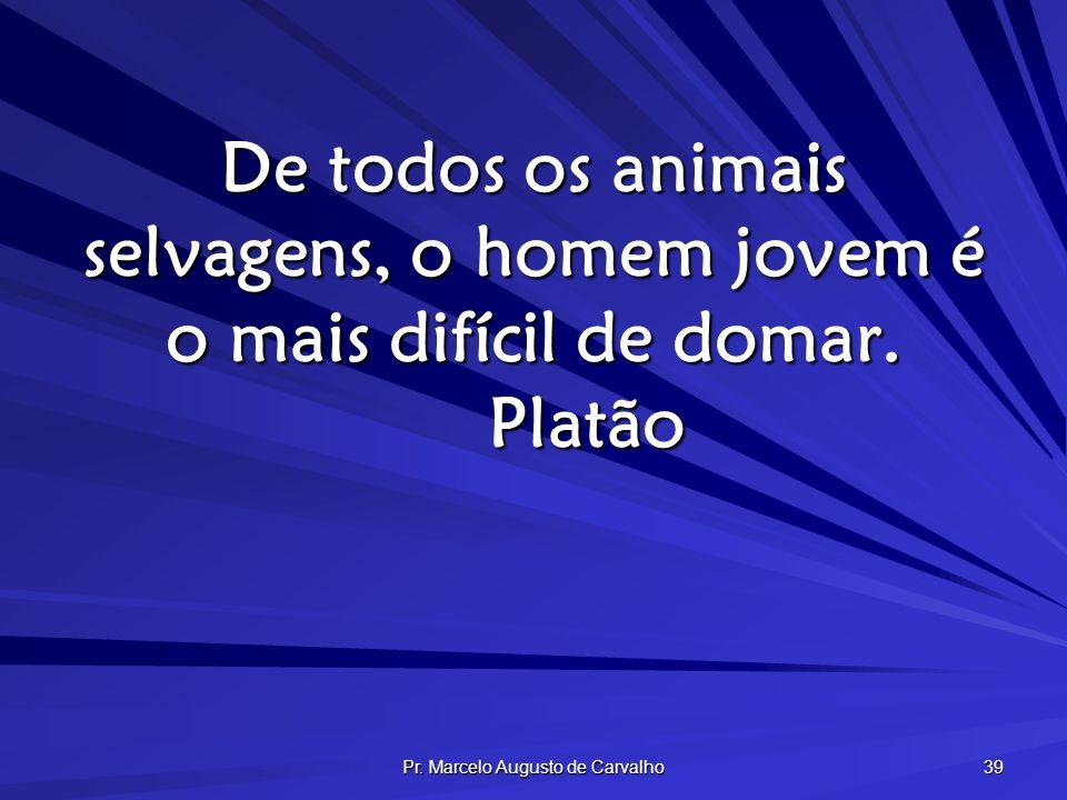 Pr. Marcelo Augusto de Carvalho 39 De todos os animais selvagens, o homem jovem é o mais difícil de domar. Platão