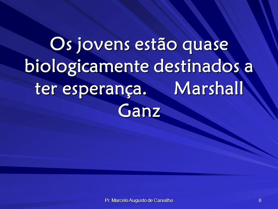 Pr. Marcelo Augusto de Carvalho 6 Os jovens estão quase biologicamente destinados a ter esperança.Marshall Ganz