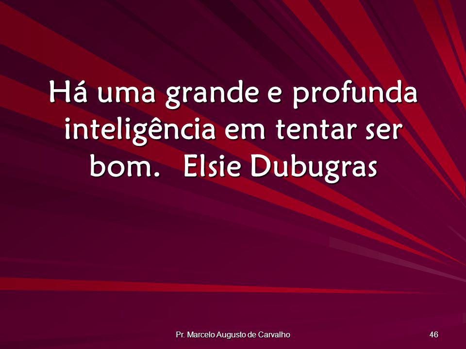 Pr. Marcelo Augusto de Carvalho 46 Há uma grande e profunda inteligência em tentar ser bom.Elsie Dubugras
