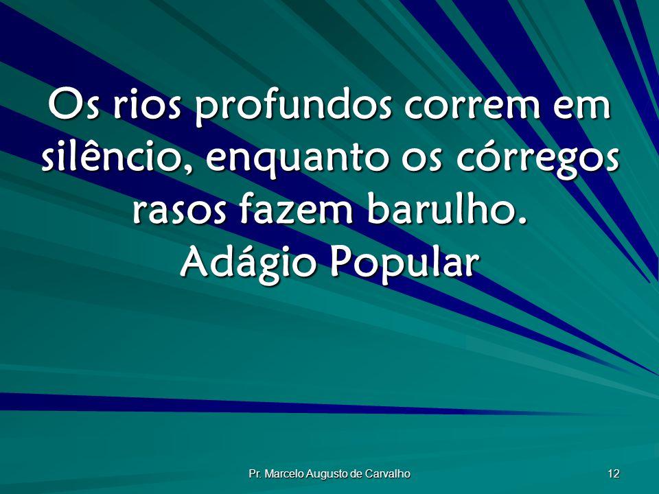 Pr. Marcelo Augusto de Carvalho 12 Os rios profundos correm em silêncio, enquanto os córregos rasos fazem barulho. Adágio Popular