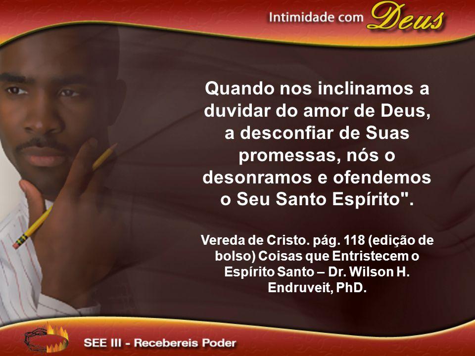 Quando nos inclinamos a duvidar do amor de Deus, a desconfiar de Suas promessas, nós o desonramos e ofendemos o Seu Santo Espírito