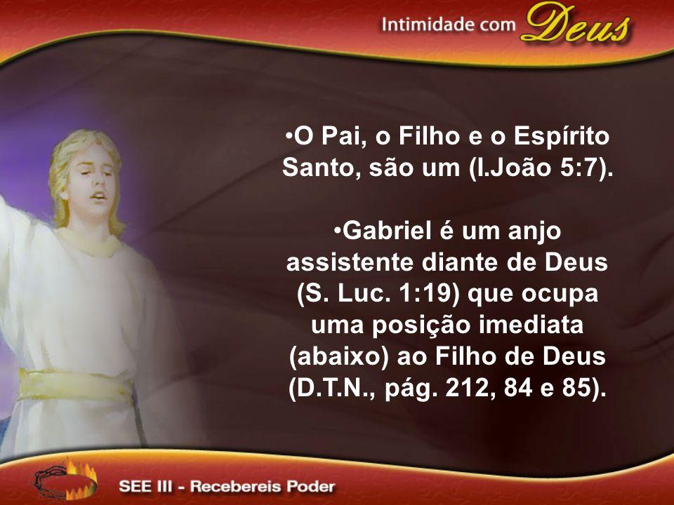 O Pai, o Filho e o Espírito Santo, são um (I.João 5:7). Gabriel é um anjo assistente diante de Deus (S. Luc. 1:19) que ocupa uma posição imediata (aba
