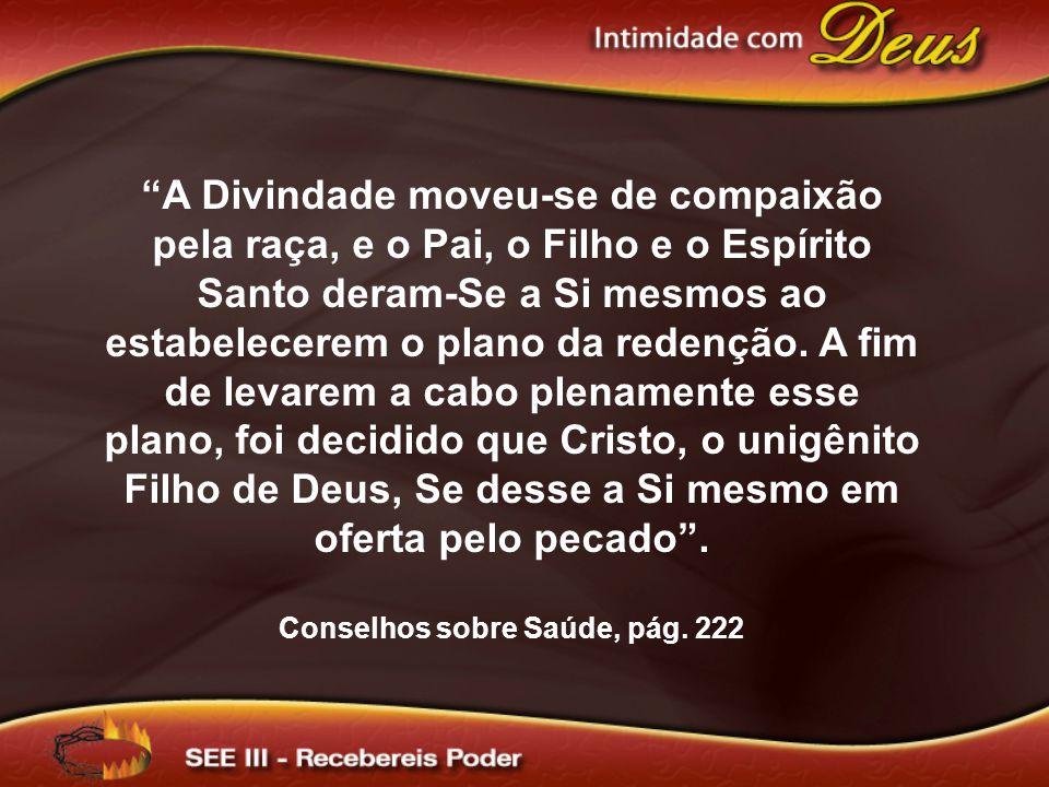 A Divindade moveu-se de compaixão pela raça, e o Pai, o Filho e o Espírito Santo deram-Se a Si mesmos ao estabelecerem o plano da redenção.