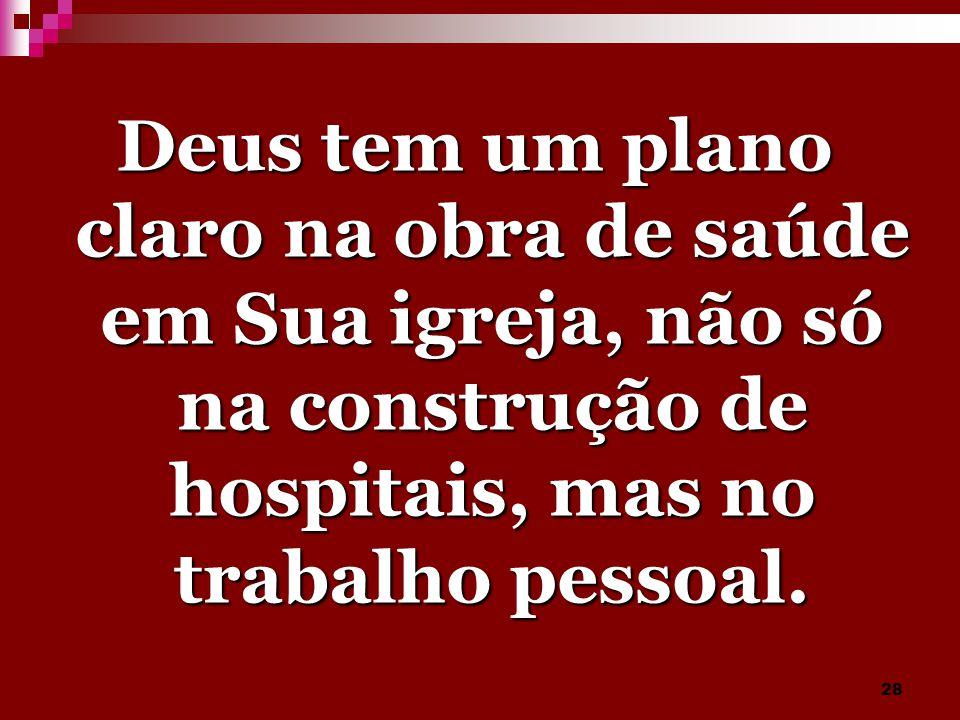 28 Deus tem um plano claro na obra de saúde em Sua igreja, não só na construção de hospitais, mas no trabalho pessoal.