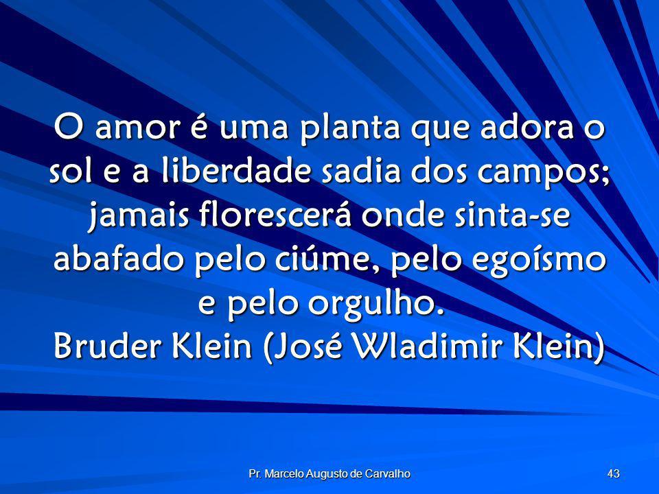 Pr. Marcelo Augusto de Carvalho 43 O amor é uma planta que adora o sol e a liberdade sadia dos campos; jamais florescerá onde sinta-se abafado pelo ci