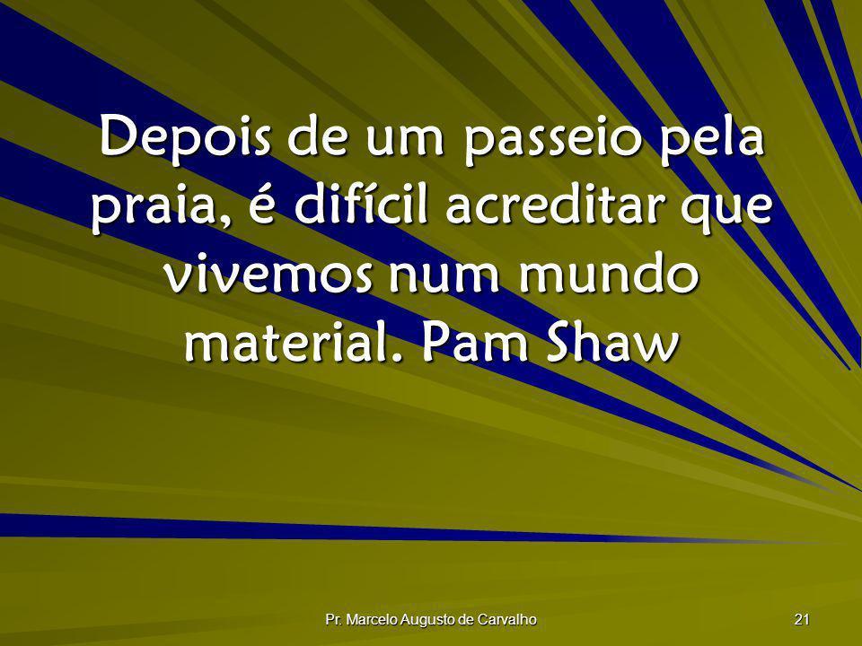 Pr. Marcelo Augusto de Carvalho 21 Depois de um passeio pela praia, é difícil acreditar que vivemos num mundo material. Pam Shaw