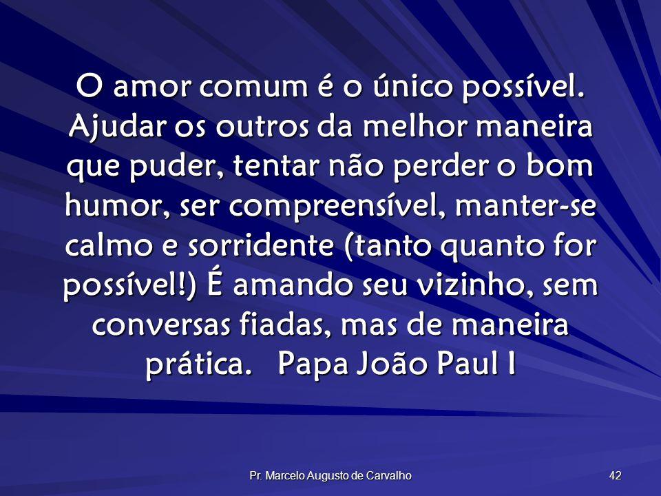 Pr. Marcelo Augusto de Carvalho 42 O amor comum é o único possível. Ajudar os outros da melhor maneira que puder, tentar não perder o bom humor, ser c