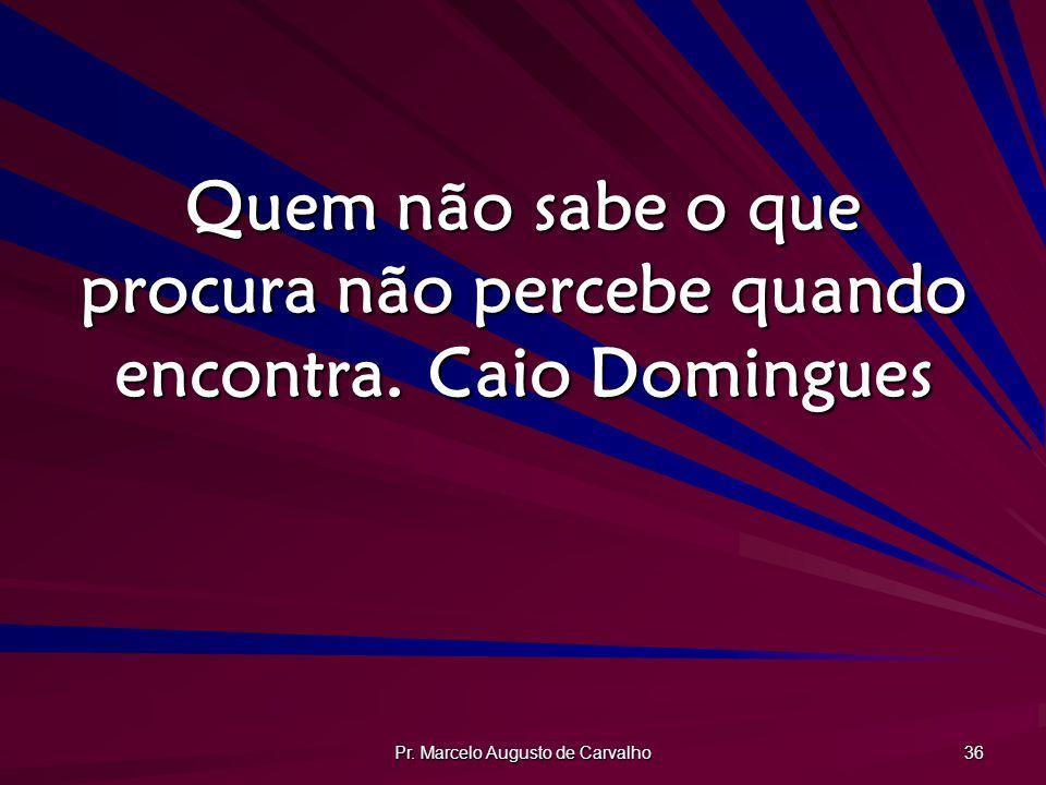 Pr. Marcelo Augusto de Carvalho 36 Quem não sabe o que procura não percebe quando encontra.Caio Domingues