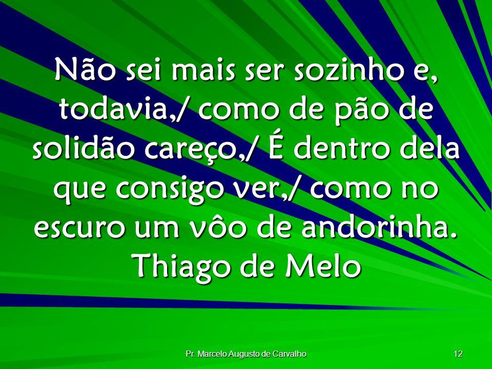 Pr. Marcelo Augusto de Carvalho 12 Não sei mais ser sozinho e, todavia,/ como de pão de solidão careço,/ É dentro dela que consigo ver,/ como no escur