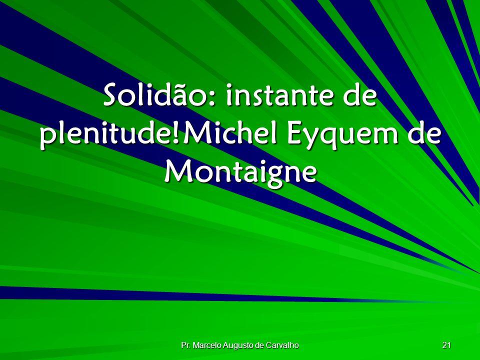 Pr. Marcelo Augusto de Carvalho 21 Solidão: instante de plenitude!Michel Eyquem de Montaigne