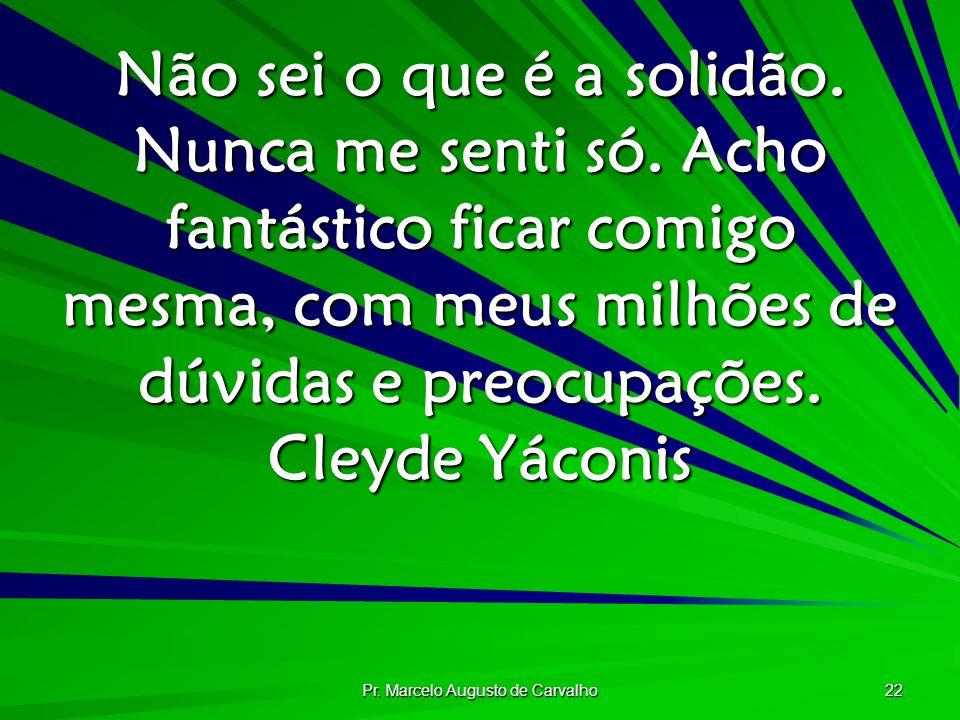 Pr. Marcelo Augusto de Carvalho 22 Não sei o que é a solidão. Nunca me senti só. Acho fantástico ficar comigo mesma, com meus milhões de dúvidas e pre