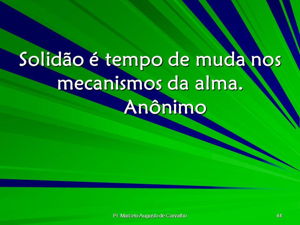 Pr. Marcelo Augusto de Carvalho 44 Solidão é tempo de muda nos mecanismos da alma. Anônimo