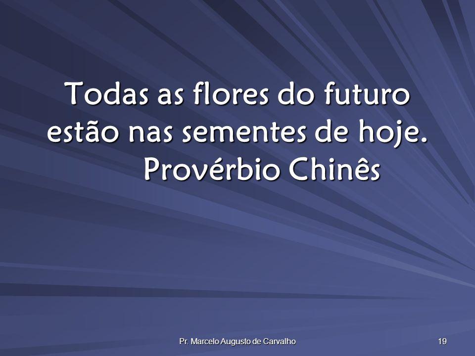 Pr. Marcelo Augusto de Carvalho 19 Todas as flores do futuro estão nas sementes de hoje. Provérbio Chinês