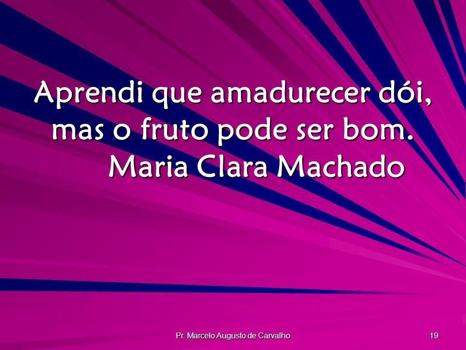 Pr. Marcelo Augusto de Carvalho 19 Aprendi que amadurecer dói, mas o fruto pode ser bom. Maria Clara Machado