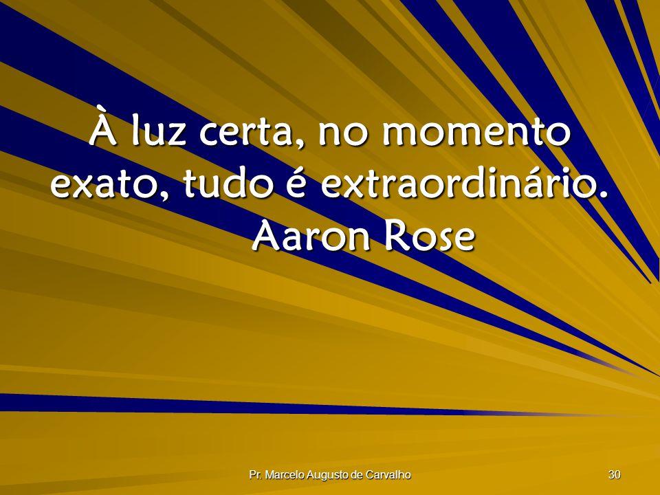 Pr. Marcelo Augusto de Carvalho 30 À luz certa, no momento exato, tudo é extraordinário. Aaron Rose
