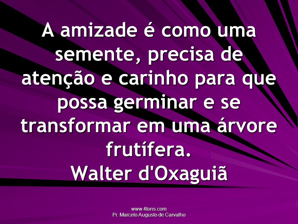 www.4tons.com Pr. Marcelo Augusto de Carvalho A amizade é como uma semente, precisa de atenção e carinho para que possa germinar e se transformar em u