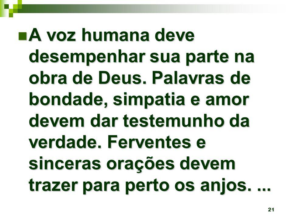 21 A voz humana deve desempenhar sua parte na obra de Deus.
