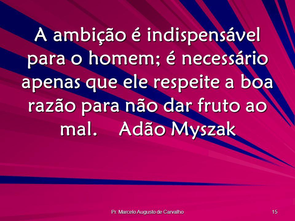 Pr. Marcelo Augusto de Carvalho 15 A ambição é indispensável para o homem; é necessário apenas que ele respeite a boa razão para não dar fruto ao mal.