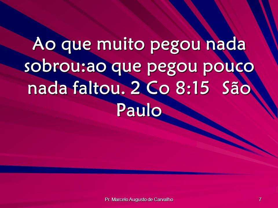 Pr. Marcelo Augusto de Carvalho 7 Ao que muito pegou nada sobrou:ao que pegou pouco nada faltou. 2 Co 8:15São Paulo