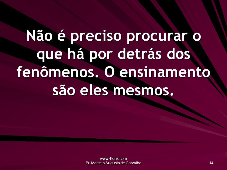 www.4tons.com Pr. Marcelo Augusto de Carvalho 14 Não é preciso procurar o que há por detrás dos fenômenos. O ensinamento são eles mesmos.