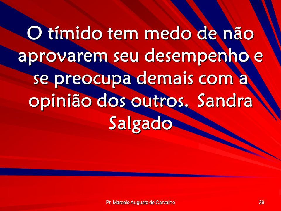Pr. Marcelo Augusto de Carvalho 29 O tímido tem medo de não aprovarem seu desempenho e se preocupa demais com a opinião dos outros.Sandra Salgado