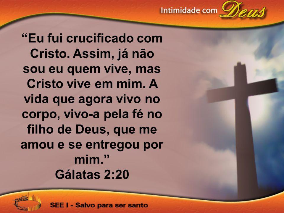 Eu fui crucificado com Cristo. Assim, já não sou eu quem vive, mas Cristo vive em mim. A vida que agora vivo no corpo, vivo-a pela fé no filho de Deus