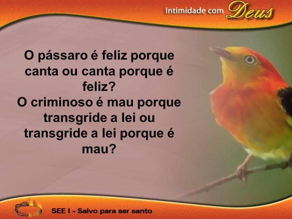 O pássaro é feliz porque canta ou canta porque é feliz? O criminoso é mau porque transgride a lei ou transgride a lei porque é mau?