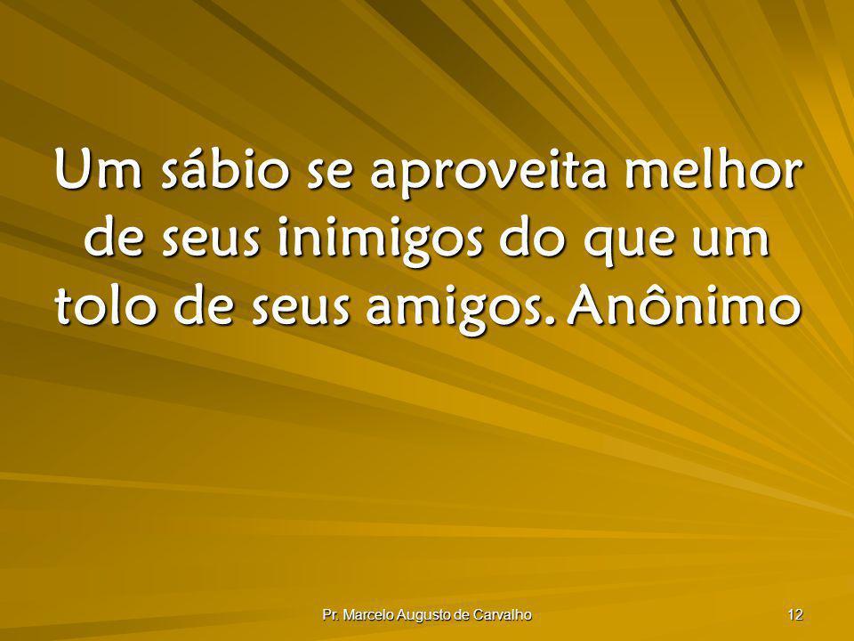 Pr. Marcelo Augusto de Carvalho 12 Um sábio se aproveita melhor de seus inimigos do que um tolo de seus amigos.Anônimo