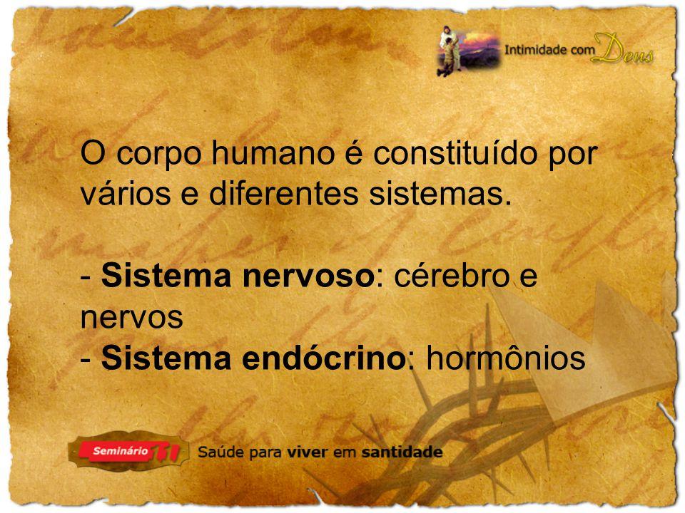 O corpo humano é constituído por vários e diferentes sistemas. - Sistema nervoso: cérebro e nervos - Sistema endócrino: hormônios