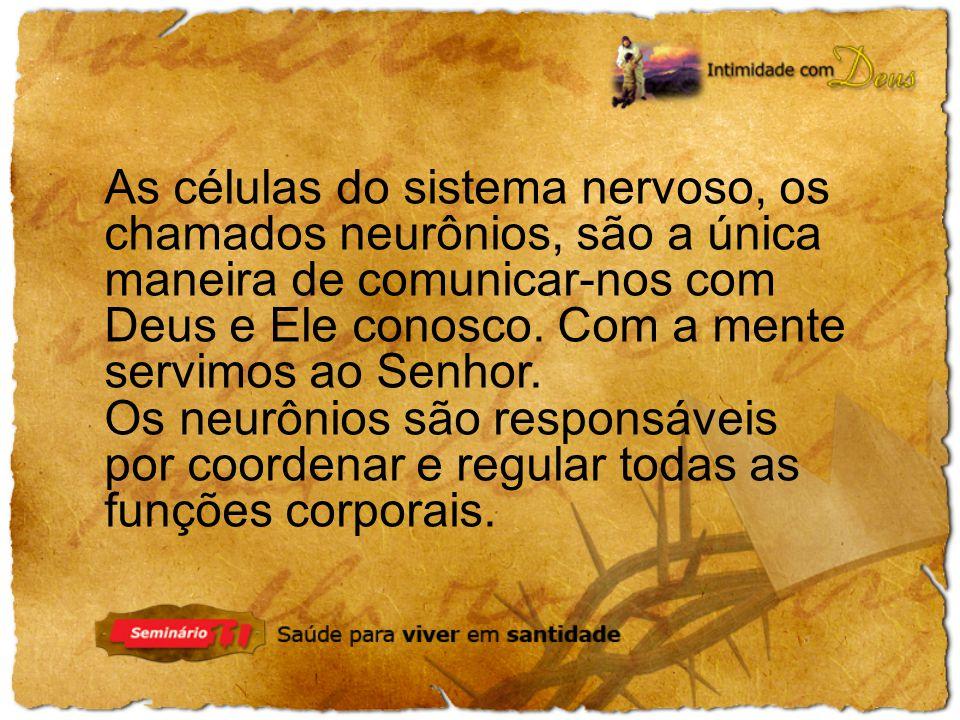 As células do sistema nervoso, os chamados neurônios, são a única maneira de comunicar-nos com Deus e Ele conosco. Com a mente servimos ao Senhor. Os