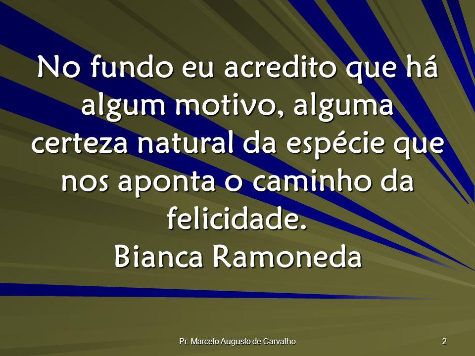 Pr. Marcelo Augusto de Carvalho 2 No fundo eu acredito que há algum motivo, alguma certeza natural da espécie que nos aponta o caminho da felicidade.