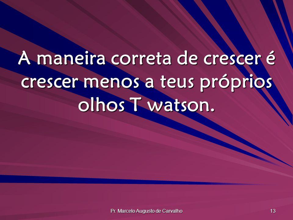 Pr. Marcelo Augusto de Carvalho 13 A maneira correta de crescer é crescer menos a teus próprios olhos T watson.