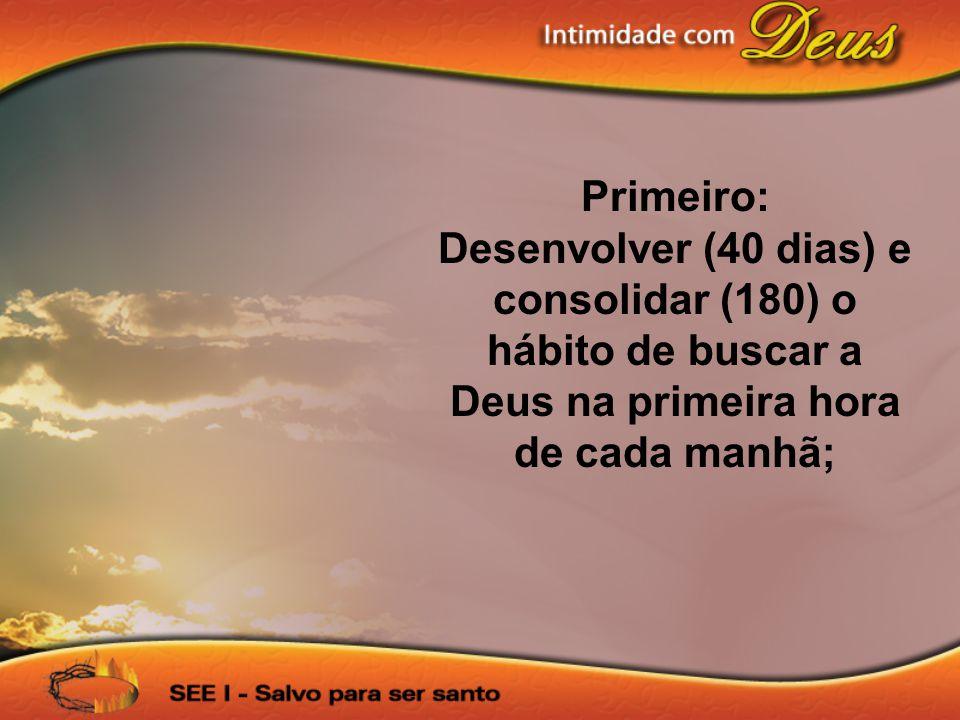 Primeiro: Desenvolver (40 dias) e consolidar (180) o hábito de buscar a Deus na primeira hora de cada manhã;