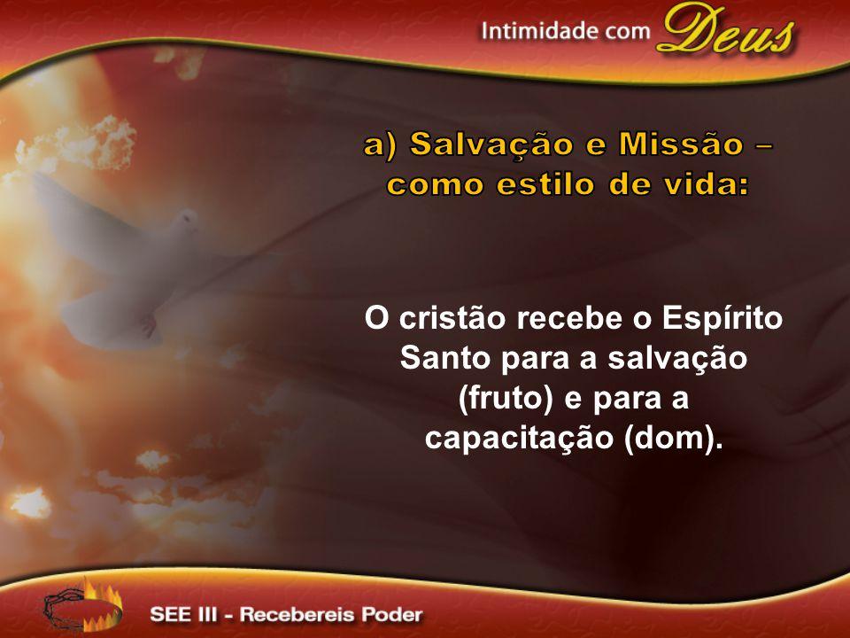 O cristão recebe o Espírito Santo para a salvação (fruto) e para a capacitação (dom).