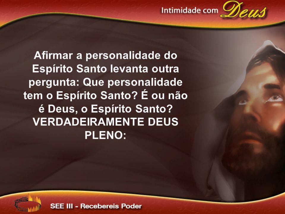 Afirmar a personalidade do Espírito Santo levanta outra pergunta: Que personalidade tem o Espírito Santo? É ou não é Deus, o Espírito Santo? VERDADEIR