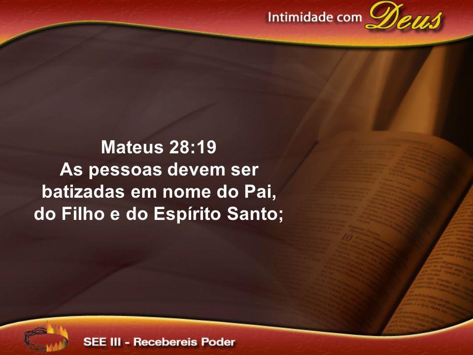 Mateus 28:19 As pessoas devem ser batizadas em nome do Pai, do Filho e do Espírito Santo;
