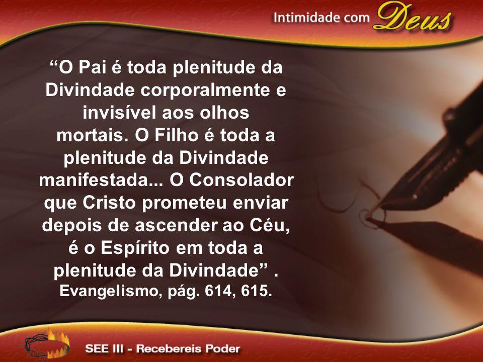 O Pai é toda plenitude da Divindade corporalmente e invisível aos olhos mortais. O Filho é toda a plenitude da Divindade manifestada... O Consolador q