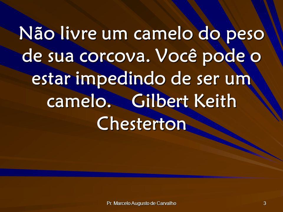 Pr. Marcelo Augusto de Carvalho 3 Não livre um camelo do peso de sua corcova. Você pode o estar impedindo de ser um camelo.Gilbert Keith Chesterton