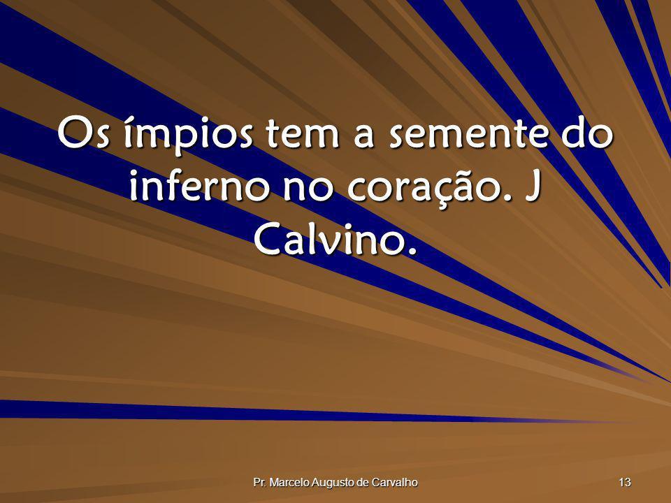 Pr. Marcelo Augusto de Carvalho 13 Os ímpios tem a semente do inferno no coração. J Calvino.