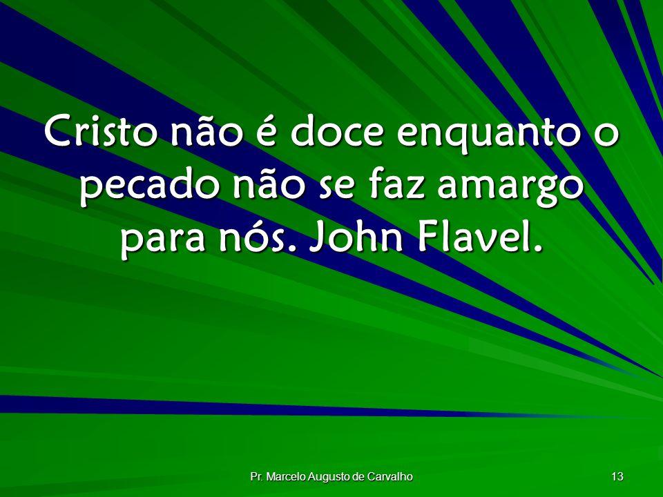 Pr. Marcelo Augusto de Carvalho 13 Cristo não é doce enquanto o pecado não se faz amargo para nós. John Flavel.